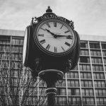 analog clock in downtown Tulsa, Oklahoma.